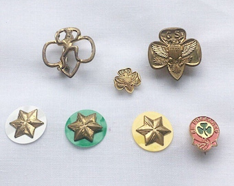 Vintage Lot of 7 Girl Scout Pins Membership Star 1960's