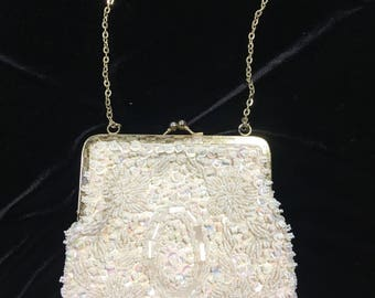 Ivory evening beaded purse, beaded clutch