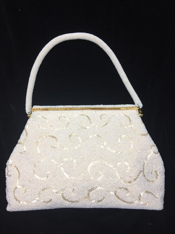 Ivory evening beaded purse, beaded clutch, vintage