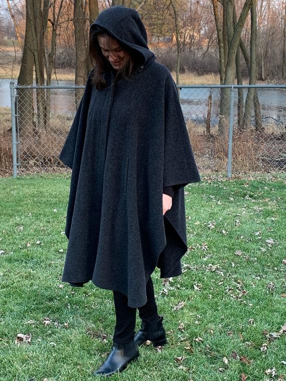 Vintage wool cape, gray wool cape, vintage wool co