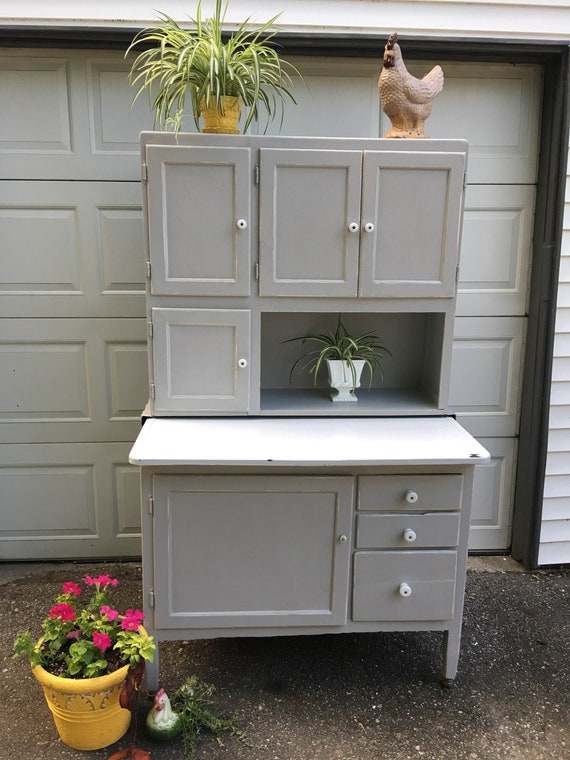 Vintage Hoosier Cabinet Gray Kitchen Caninets Bakers Cabinet China Cabinet Kitchen Hutch