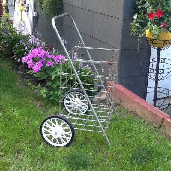 Charmant Wheeled Shopping Cart Metal Garden Cart Folding Beach Cart | Etsy