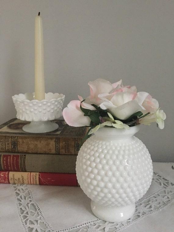 White Hobnail Vase Vintage Hobnail Vase Vintage Milk Glass Etsy