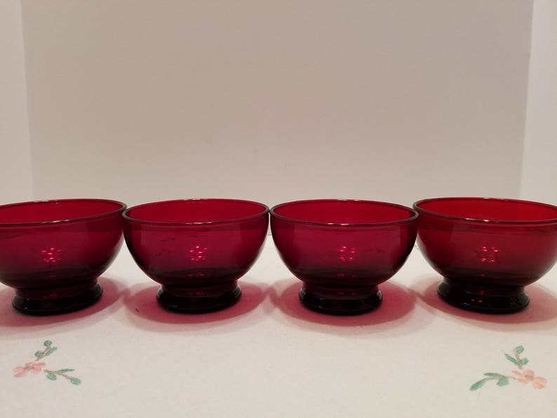 Set of 4 Custard Cups Ruby Red Sherbert Cups Dessert Cups Anchor Hocking Vintage Red Glass