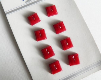 Vintage Square Red Buttons Plastic on Card