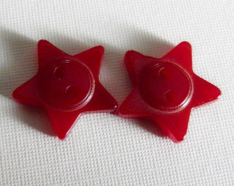 VIntage Bakelite Star Buttons Dark Red