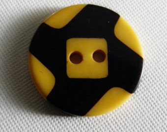 Black & Yellow Bakelite Cookie Button