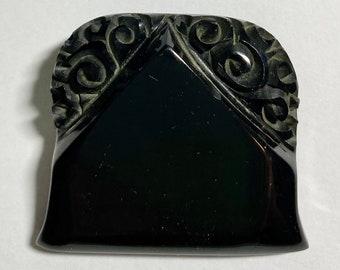 Carved Black Bakelite Coat Button Large Unusual