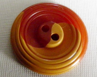 Bakelite Yin Yang Cookie Button Rusty Orange Yellow