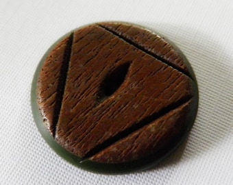 Wood Over Green Bakelite Button