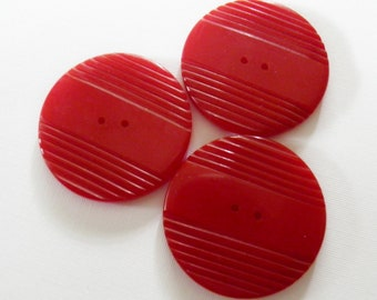Large Cherry Red Bakelite Button Trio