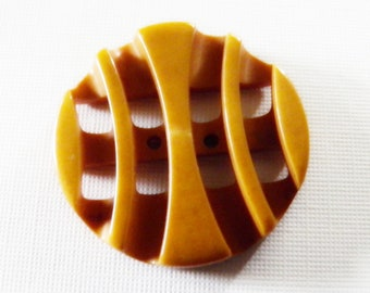 Custard Yellow Art Deco Bakelite Button Curved Double Cut