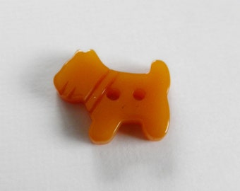 Bakelite Terrier Dog  Button Realistic Butterscotch