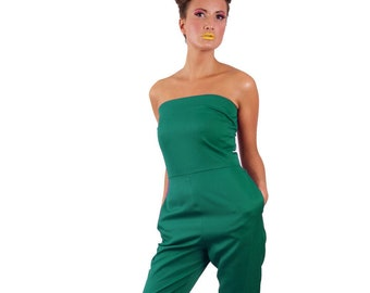 Wonderland strapless long legged 'Tweedle D Jumpsuit' *Limited Edition - Jade