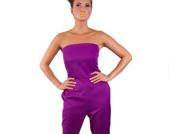 Wonderland strapless long legged 'Tweedle D Jumpsuit' *Limited Edition - Purple