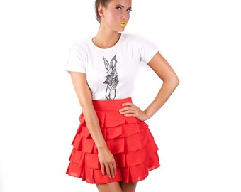 Wonderland layered 'Alice Ruffle Skirt' - Red