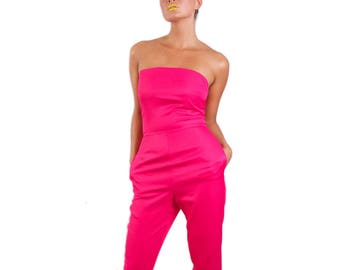 Wonderland strapless long legged 'Tweedle D Jumpsuit' *Limited Edition - Pink