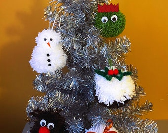 Christmas Pom poms - decorations for your Christmas tree - Olaf Frozen - Christmas pudding - reindeer - snowman - Brussel sprout - snowball