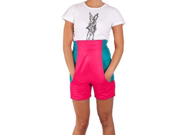 Wonderland High Waisted Contrast Pink & Jade 'White Rabbit Shorts' *Limited Edition - Ladies