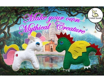 Mythical Creatures Craft - Felt Unicorn or Dragon. Made to order or Craft yourself kit