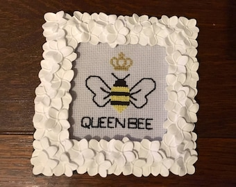 Queen Bee Cross Stitch Embroidery - Frame optional