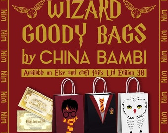 Harry Potter themed Wizard Mystery goody bags - Find a golden ticket = Prizes to be won!