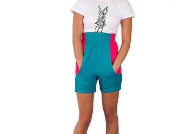 Wonderland High Waisted Contrast Jade & Pink 'White Rabbit Shorts' *Limited Edition - Ladies