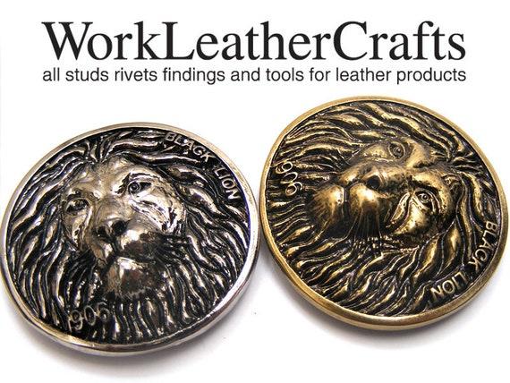 2PCS 34mm Zinc conchos Lion head Leathercrafts screw back Craft Rivet Stud
