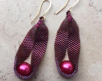 Magenta Pearl Sling Earrings