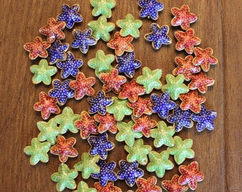 Lot of Enameled Metal Red, Blue, Green and Gold Starfish Beads