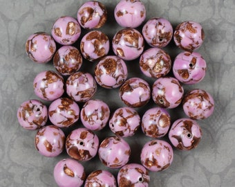 Vintage 1960s Venetian Pink and Copper Aventurine Round Beads (30)