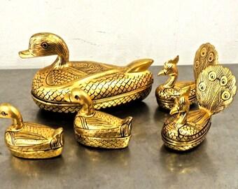 vintage gold duck boxes - 1960s Japanese decorative bird boxes set of 5
