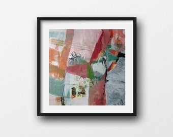 Sizing: Square, Original Abstract Painting in Pinks, White and Green