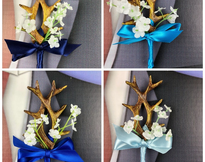 New Blue Artificial Antler Boutonniere, Navy Antler Bout, Royal Antler Bout, Baby Blue Antler Bout