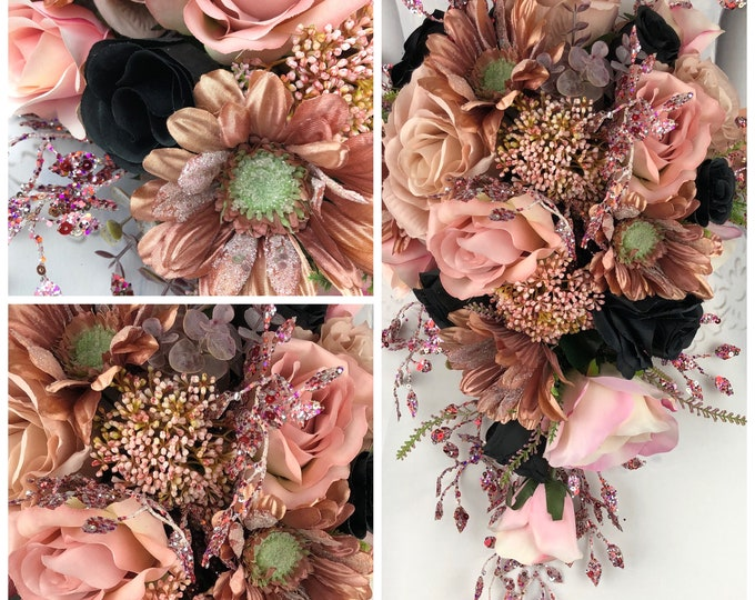 New Black and Rose Gold Bridal Bouquet, Rose Gold and Black Wedding Flowers, Rose Gold and Black Bouquet