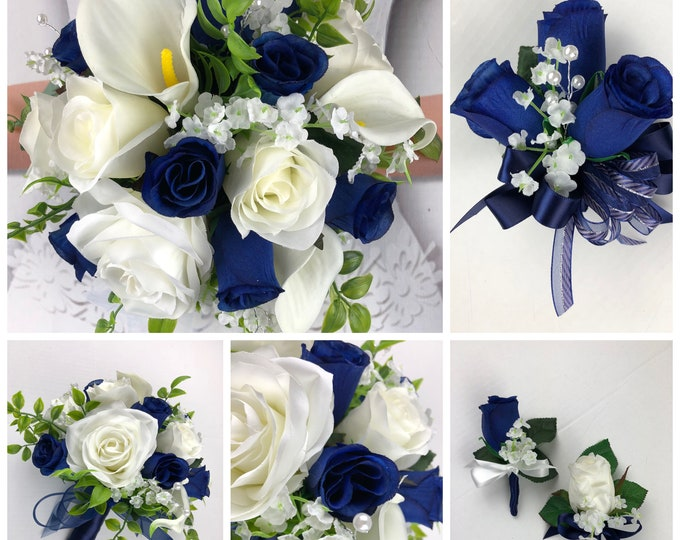 New Navy and White Artificial Wedding Flowers. Navy Bridal Bouquets