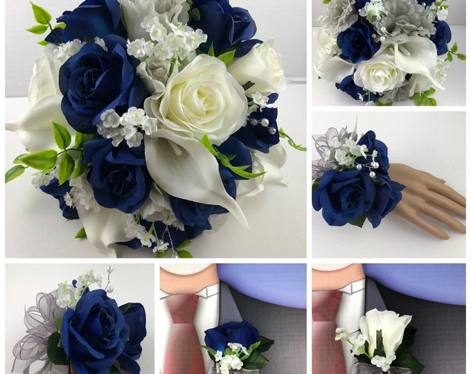 New Navy, Gray and White Artificial Wedding Flowers. Navy Bridal Bouquets, Gray Bridal Bouquet
