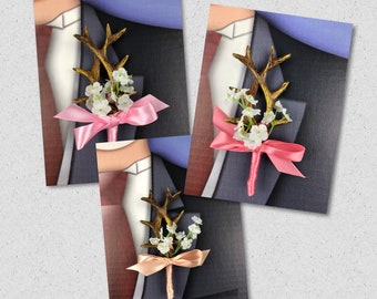 New Pink Artificial Antler Boutonniere, Coral Antler Bout, Peach Antler Bout, Hunt is over Bout