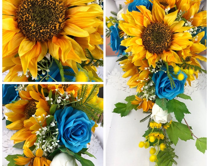 Artificial Malibu and Sunflower Bridal Bouquet, Sunflower and Malibu Bridal Flowers, Sunflower Wedding Flowers