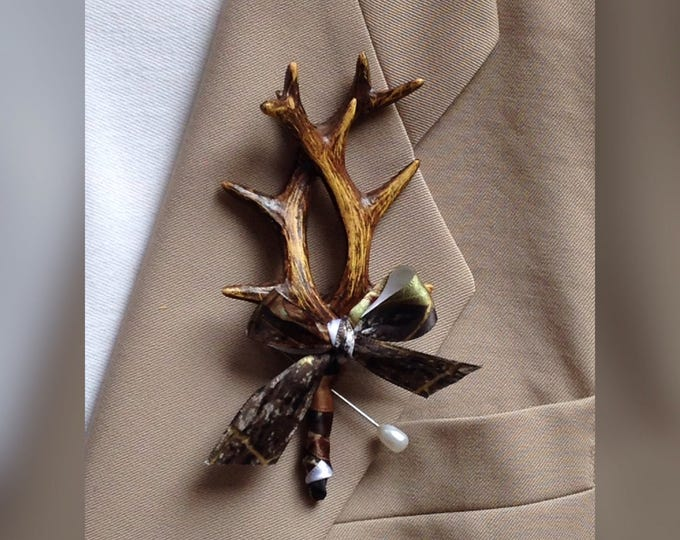New Artificial Antler Boutonnieres, Mossy Oak Boutonniere, Custom Ribbon Color Available