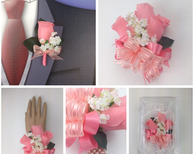 New Artificial Coral Rose Corsage, Coral Rose Mother's Corsage, Coral Rose Corsage, Coral Rose Wedding Flowers