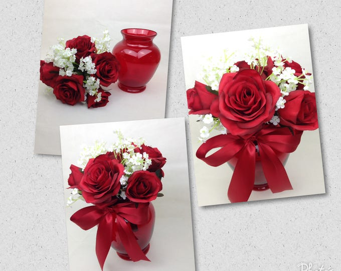 Custom Apple Red Table Arrangements, Red Rose Wedding Arrangements, Apple Red Wedding Centerpieces