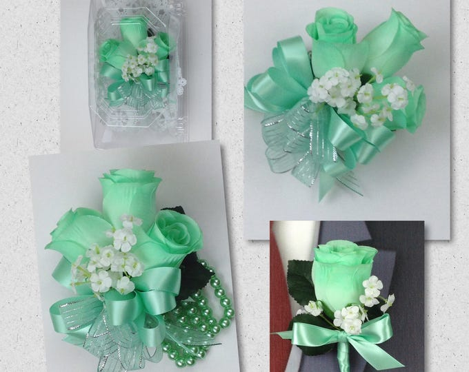 New Artificial Mint Rose Corsage, Mint Rose Mother's Corsage, Mint Corsage, Mint Wedding Flowers, Mint Boutonniere