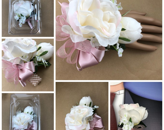 New Artificial Blush Rose Corsage, Blush Rose Mother's Corsage, Blush Corsage, Blush Bout