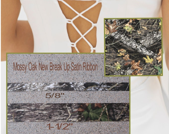 "New Mossy Oak New Break Up Satin Ribbon 5/8"", Camo Ribbon Camouflage Ribbon"