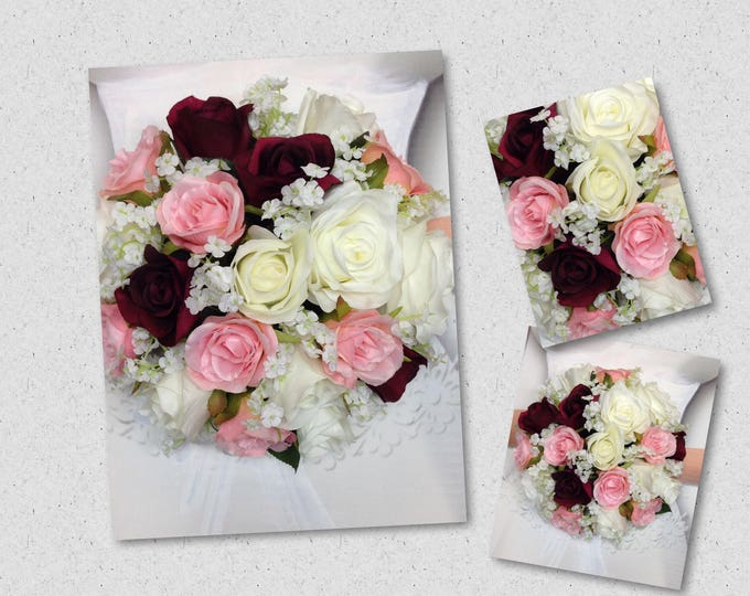 "New Artificial White, Wine and Blush Wedding Bouquet (9"" in diameter), Baby's Breath Bridal Bouquet with Wine, White & Blush Roses"