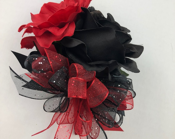 New Artificial Red and Black Rose Prom Corsage, Black and Red Prom Boutonniere.