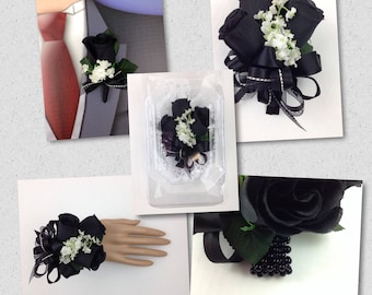 New Artificial Black Rose Corsage, Black Rose Mother's Corsage, Black Boutonniere, Black Bout