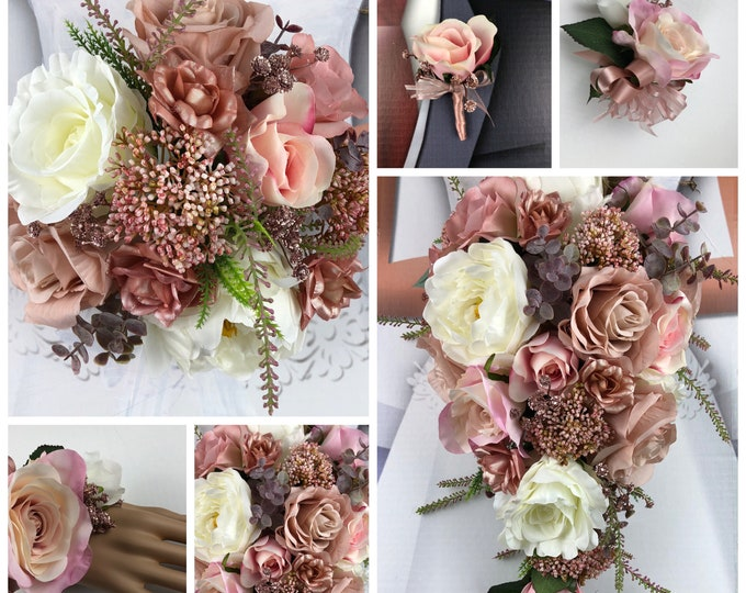 New Rose Gold Bridal Bouquet, Rose Gold Wedding Flowers, Rose Gold Bouquet