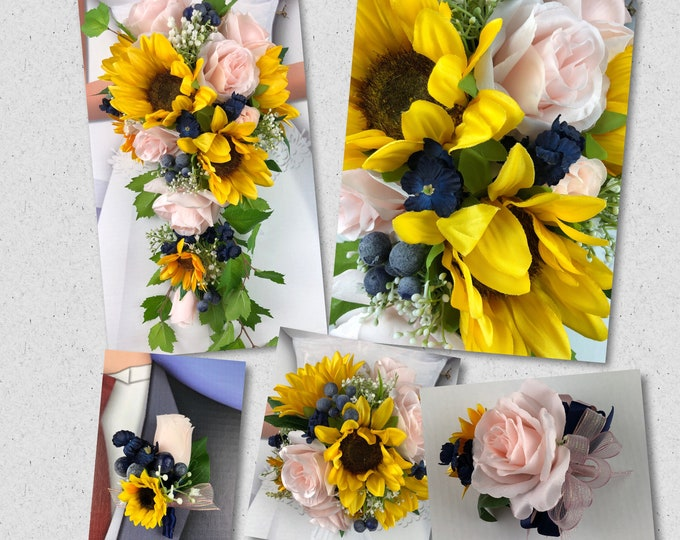 Artificial Blush, Navy and Sunflower Bridal Bouquet, Blush Sunflower Bridal Flowers, Navy Sunflower Wedding Flowers